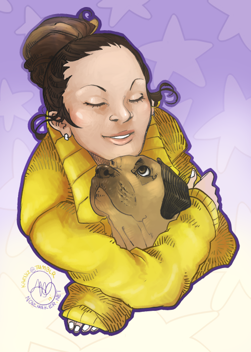 Original: Ushiii~ ♥ Drawing of my dear friend and her pup, Bernie. He's a puggle. Puggles are awesome. Bernie is awesome. (ღ˘⌣˘ღ)