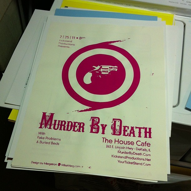 First screenprint I ever did — #MurderByDeath 2.25.11 - the House Cafe, DeKalb IL #art #design #Gigposter