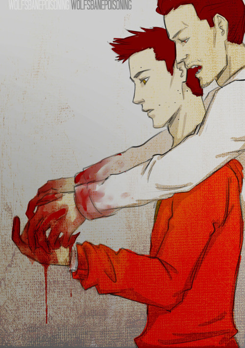 wolfsbanepoisoning:  more Peter/Stiles! I don't know why, but for me the relationship between these two isn't complete without blood. I guess I prefer it when their relationship starts out with fear and dominance from Peter's Alpha side, but Peter somehow keeps himself in control around Stiles, interest piqued by the younger man's lack of fear towards him. And for Stiles, Peter would probably someone whom he admires, respects and learns from, and also someone he's fearful of.