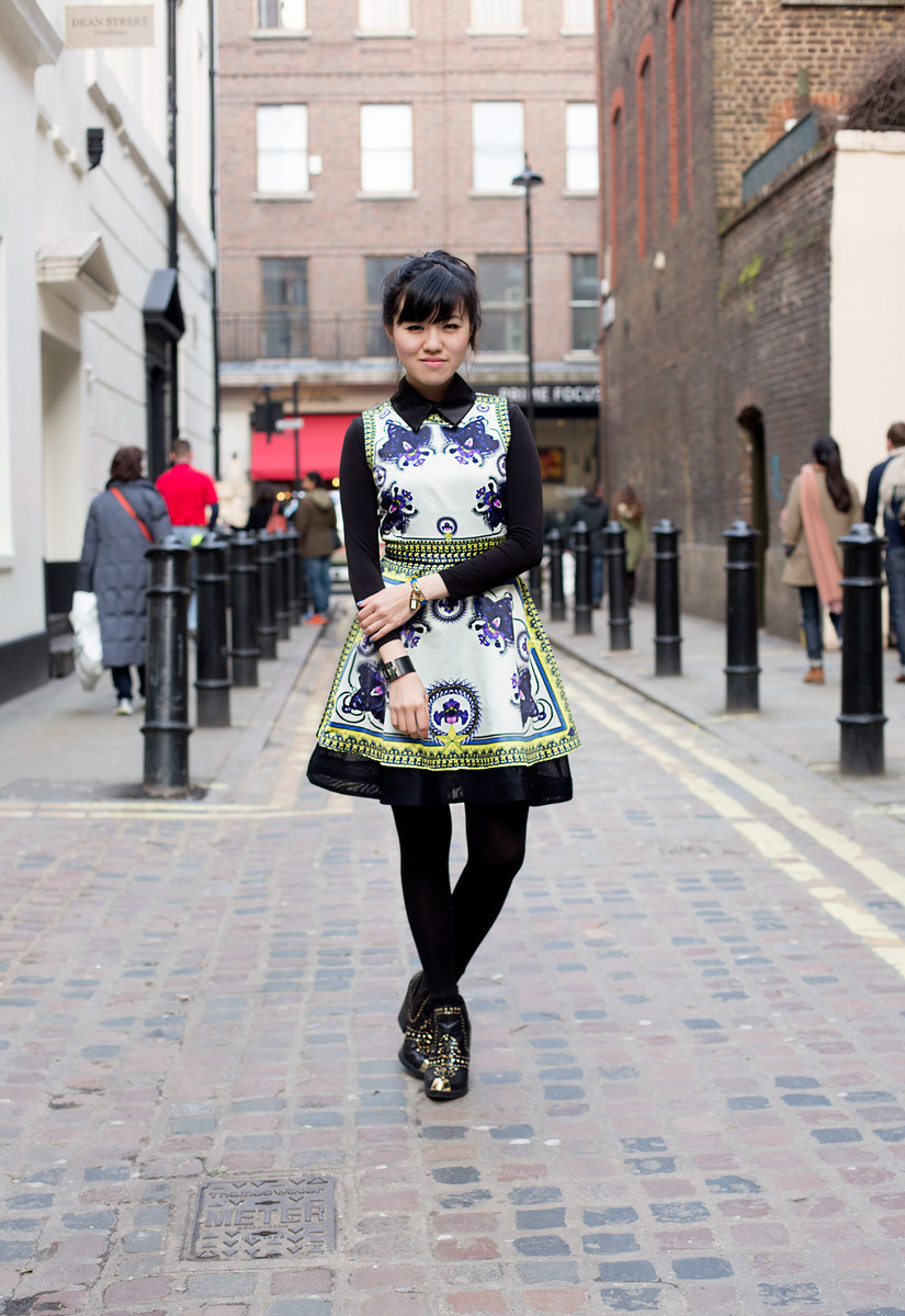 Rachel on Meard St, LondonGivenchy dress (worn over a Uniqlo heat tech because it was freezing!) | Topshop boots   (photos by Darrel Hunter)