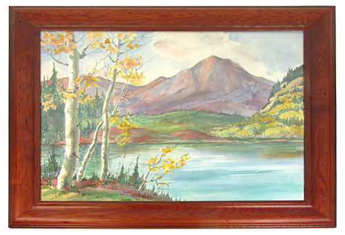 "Watercolor landscape of a view of Estes Park, Colorado. Signed ""Vicki John,"" lower right. Displayed in an elegant wood frame. by Ruby + George on One Kings Lane Vintage and Market Finds"