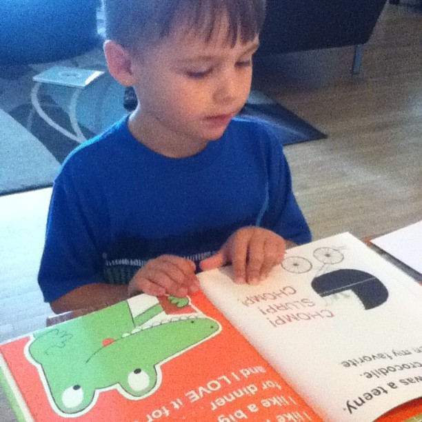 Leo is loving his new favorite book: The Watermelon Seed by Gerg Pizzoli / @gregpizzoli