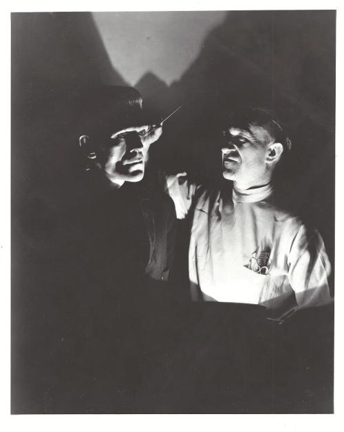 beautyandterrordance:  Boris Karloff & Jack Pierce, via arcaneimages.