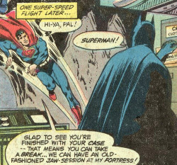 "discowing:  How does Superman always fly into the cave from above? Where does he come from? Is there a special Superman hole in the ground above he drops through? If he were coming through the vehicle entrance, he wouldn't be so… vertical. And while I'm pondering the great mysteries of comics, what is Batman always typing on his computer? He's always typing. WHAT IS IT, BRUCE.  But anyway, ""Hi-ya, pal, let's hang out!"""