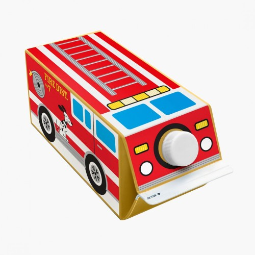 Stickers + empty cartons = fire trucks!  Why not turn packaging into simple toys? Reusable stickers, printed on 100% recycled, uncoated paper, via Box Play for Kids.