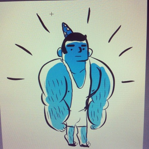 i drew a bodybuilding wizard who turned out to look like my brother