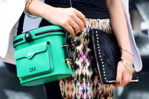 May is full of celebrations, so get your green on with emerald-inspired pieces like this retro-inspired Rebecca Minkoff camera bag.