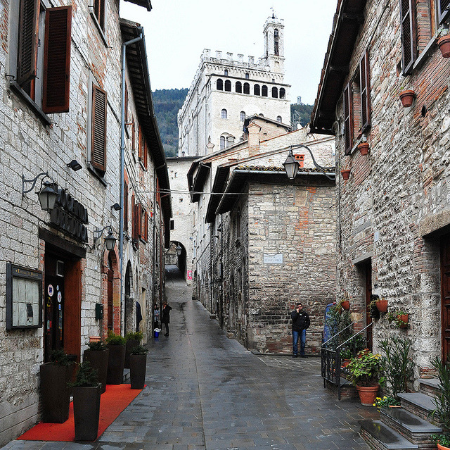 | ♕ |  Rainy alley in Gubbio, Italy  | by © tango-