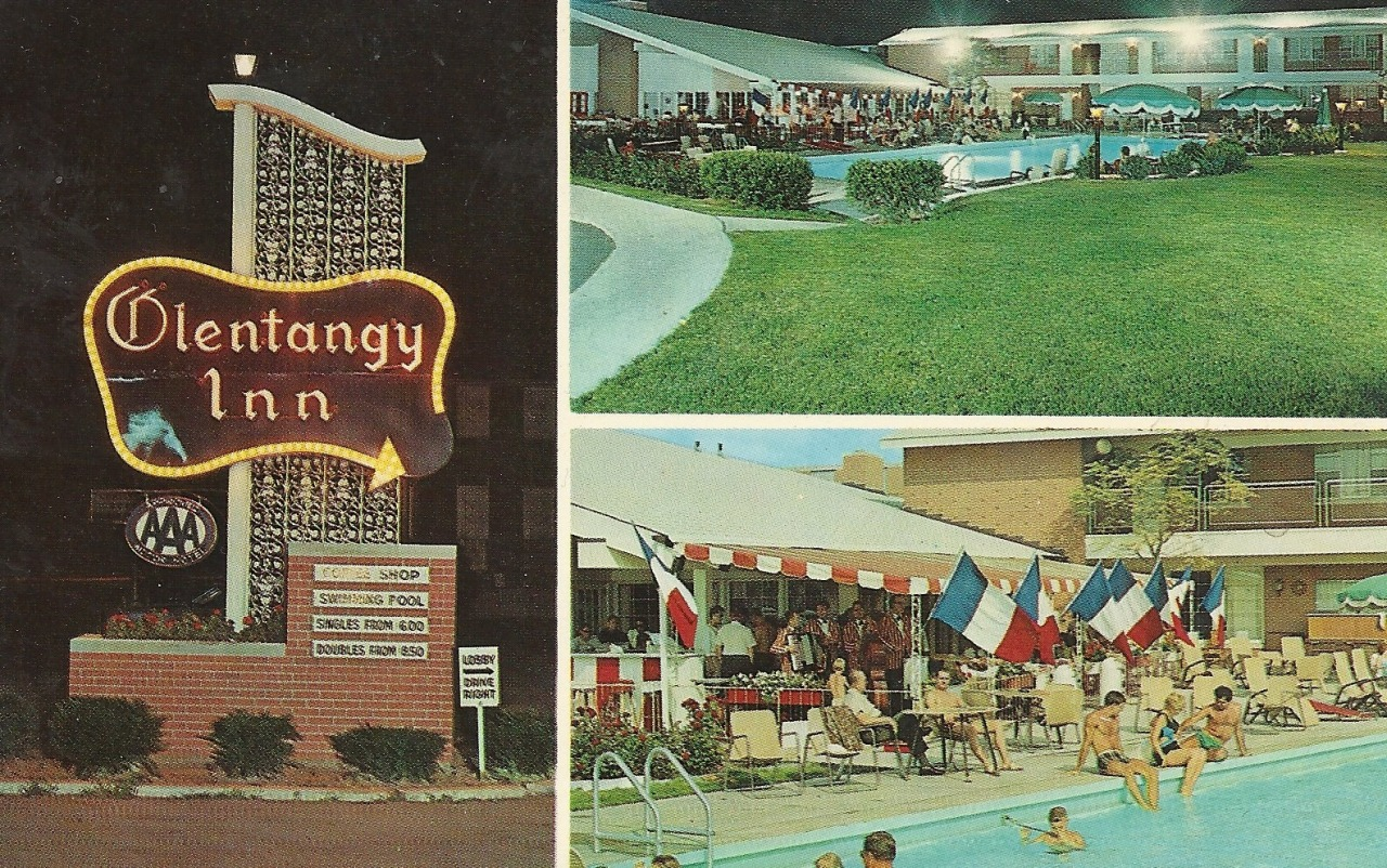 "Olentangy Inn 1299 Olentangy River Road Columbus 12, Ohio Phone AX 4-5211 ""An Alsonett Hotel"" 5 minutes from downtown Columbus.  5 blocks from Ohio State University Stadium.  118 rooms - all air conditioned with T.V.  Coffee Shop, Dining rooms, French Side-Walk Cafe.  Year 'round swimming pool.  Cocktail Lounge with entertainment.  Banquet and meeting room facilities."