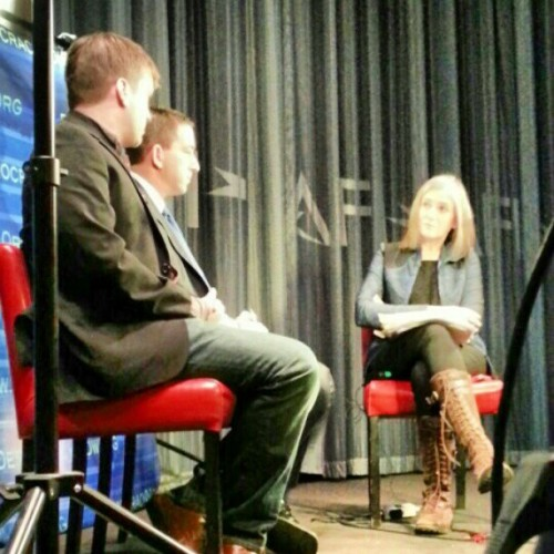 Amy Goodman, Glenn Greenwald, Trevor Timm from behind the @democracynow camera at #f2c13  (at AFI Silver Theatre and Cultural Center)