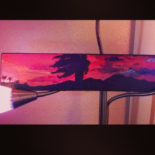 Awesome painting by Aaron my douchelords roomie. I looove that he's an artist ;) reminds me of the desert. This looks really good in person :) #YahTrickYah #ImFromTheDesert #Ilovethispainting #siiccc #Props xoxoxo