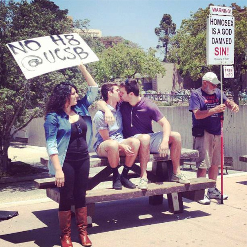 ucsb-sasa:  This happened at UCSB today in response to the old man holding his lovely sign. #NOH8