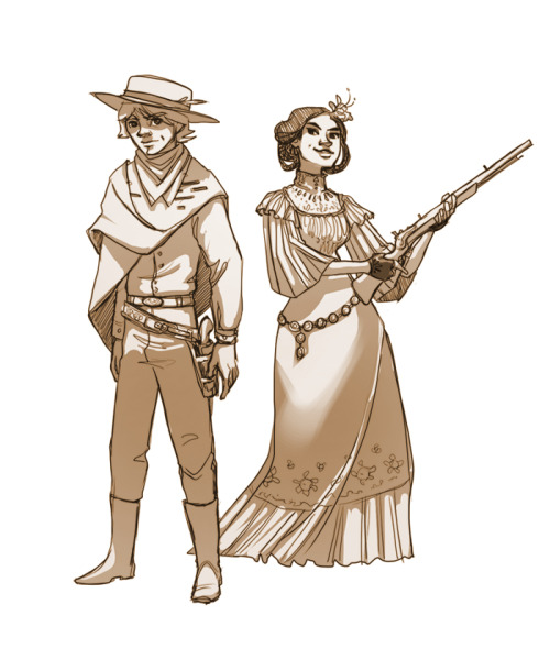 bridgioto:  admiralmackbar:  shoomlah:   bridgioto:   Old West Luke and Leia! I imagine Leia would be a Mexican princess of sorts…   Coworker/buddy Bridget (CHECK HER OUT) drew up Luke and Leia by way of a Western setting, and badass latina Leia is something I would like to savor for a bit.  Kiiiiinda kicking myself that I didn't think of this first.     if Leia was Latin@, Luke would be Latin@, too, since they're twins.  just saying.  unless they had different fathers.  hm.  I actually had some thoughts on this at the time! If you want to go further into headcanon land with me… Born back east to a mixed-race former slave (Anakin) and a French mother (nicely foreign Padme), Luke and Leia were separated and sent to (respectively) Nowhere, North Dakota and a wealthy hacienda in Mexico. Thanks to their wealth Leia's adoptive parents are politically influential, as well as sympathetic to a rebellion (led by the tribes cast out west by the Indian Removal Act) fomenting against the U.S. Empire, a power controlled from the shadows by a now nearly-immortal and totally evil Andrew Jackson. Han, of course, would be a cowboy swindler/smuggler/adventurer in the Southwest, accompanied by a gigantic, fur-laden, semi-mute voyageur (Chewie). And the Death Star would be a flamethrowing airship that destroys half of Mexico .-.