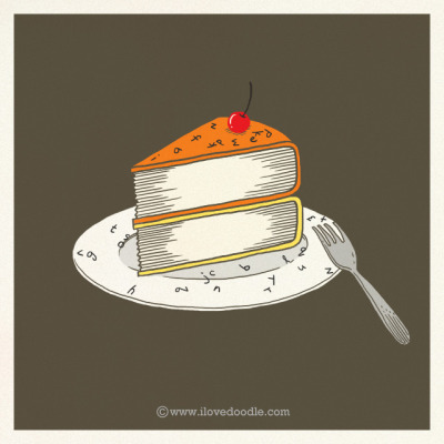 ilovedoodle:  A slice of books on Flickr.Doodle Everyday 385Website / Facebook / Twitter / Tumblr / Etsy