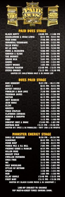 PAID DUES 2013 SET TIMES