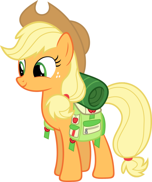 applefamily:  Applejack is ready for a weekend of camping fun! This is by Synthrid  HELP ME.