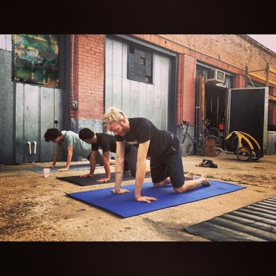 Yoga w/@dwntwnbikr for #bike2workday at @cycleast! #Coffee #ATX  #Bike2WorkDay #Bike2work #Grimpeur #CoffeeDoping  #DONUTS #BikeATX #EveryMonthIsBikeMonth #commuters #cycling #bikes #RideYourBike #DrinkGreatCoffee cc: @AustinCycling  (at Cycleast)