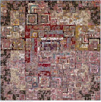 """holgerlippmann:  abracadabra made with code (processing) vector for print and carpet knitting the abracadabra series is made with a set of square frames using processing svg load. the disableStyle(); function is used for code based coloring and the getChild(); function  for individual coloring of polygon parts out of one multi poligonal svg file. it uses an svg array list. the iteration algorithm is dividing  a shape down within a x-9 level loop. each repetition of the process is also called an """"iteration"""". the results of one iteration are used  as starting point for the next iteration. a whole bunch of commands are either random and/or on keyboard/mouse action for recording…"""