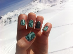 Tribal with concrete effect accent nail. Yes, that is an Austrian mountain in the background.
