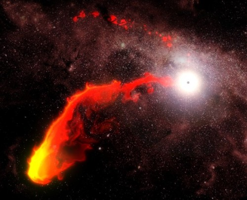 "Galactic Gas Cloud Could Help Spot Hidden Black Holes      The heart of our Milky Way galaxy is an exotic place. It's swarming with gigantic stars, showered by lethal blasts of high-energy radiation and a veritable cul-de-sac for the most enigmatic stellar corpses known to science: black holes. And at the center of the whole mélange is the granddaddy of all the black holes in the galaxy — Sagittarius A,  a supermassive monster with 4 million times more mass than the Sun packed into an area smaller than the orbit of Mercury.      Sgr A* dominates the core of the Milky Way with its powerful gravity, trapping giant stars into breakneck orbits and actively feeding on anything that comes close enough. Recently astronomers have been watching the movement of a large cloud of gas that's caught in the pull of Sgr A* — they're eager to see what exactly will happen once the cloud (designated G2) enters the black hole's dining room… it will, in essence, be the first time anyone watches a black hole eat.      But before the dinner bell rings — estimated to be sometime this September — the cloud still has to cover a lot of space. Some scientists are now suggesting that G2′s trip through the crowded galactic nucleus could highlight the locations of other smaller black holes in the area, revealing their hiding places as it passes.      In a new paper titled ""G2 can Illuminate the Black Hole Population near the Galactic Center"" researchers from Columbia University in New York City and the Harvard-Smithsonian Center for Astrophysics (CfA) in Cambridge, Massachusetts propose that G2, a cloud of cool ionized gas over three times more massive than Earth, will likely encounter both neutron stars and other black holes on its way around (and/or into) SMBH Sgr A*.      The team notes that there are estimated to be around 20,000 stellar-mass black holes and about as many neutron stars in the central parsec of the galaxy. (A parsec is equal to 3.26 light-years, or 30.9 trillion km. In astronomical scale it's just over 3/4 the way to the nearest star from the Sun.) In addition there may also be an unknown number of intermediate-mass black holes lurking within the same area.      Continue.."
