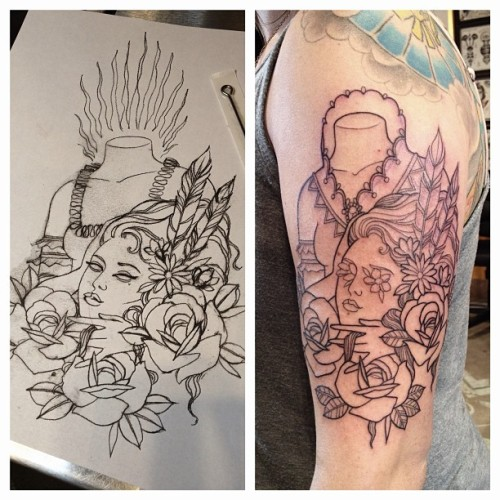 I started Ariel's Marie Antoinette inspired tattoo yesterday.  #marieantoinettetattoo (at Everlasting Tattoo)