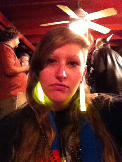the upside to once having large gauges: glow stick earrings.