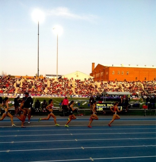 runningxctf:  From the 1500m at the Drake Relays yesterday. Jenny Simpson won and set a new relays record.