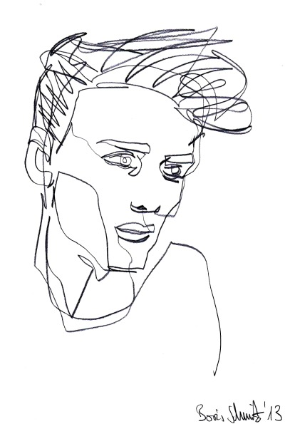 Study of a male model 6, one-line-drawing by Boris Schmitz, 2013 For more click »HERE«