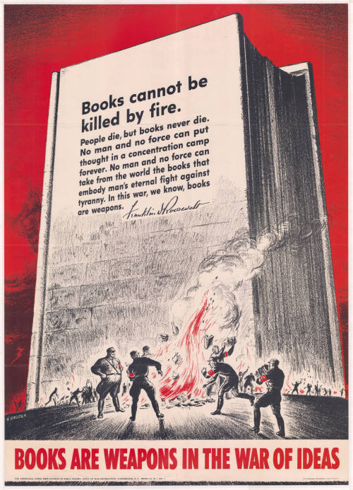themodernhistory:  Books are weapons in the war of ideas.Books cannot be killed by fire.