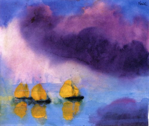 apoetreflects:  Painting: Emile Nolde, Sea with Violet Clouds and Three Yellow Sailboats, 1946