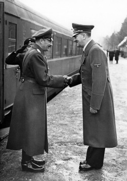 adolfi:  Adolf Hitler receiving Bulgarian Monarch during his arrival at the station of the Fuehrer's Headquarters 'Wolfsschanze' near Rastenburg in East Prussia - 24.03.1942