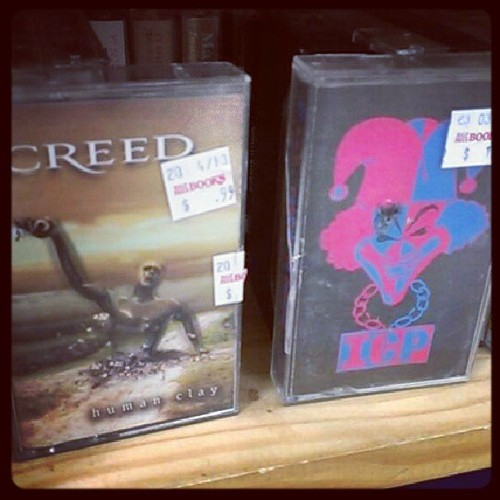 Saw these two tapes at half priced books yesterday. Should I have bought them?! #icp #creed #woopwoop #juggalo #armswideopen