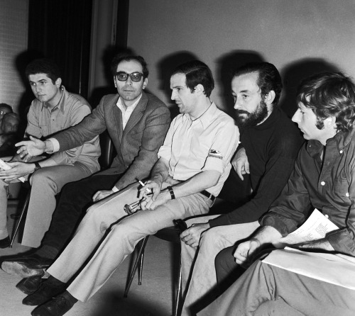 pickledelephant:  Claude Lelouch, Jean-Luc Godard, François Truffaut, Louis Malle and Roman Polański   Cannes International Film Festival. On May 18, 1968 several filmmakers took over the large room of the Palais and interrupted the projections in solidarity with students and labour on strike throughout France.The next day the festival was halted.