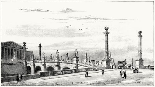 Decoration project for the Pont de la Concorde.  Henri Labrouste, from L'artiste, series 2, Vol. 7, Paris, circa 1841.  (Source: archive.org)