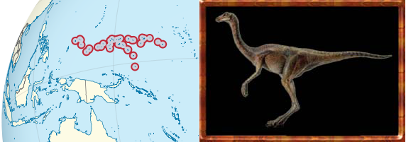I always thought the island of New Guinea looked like a dinosaur. I just looked up the Wikipedia entry for the The Federated States of Micronesia and noticed that island chain does as well.