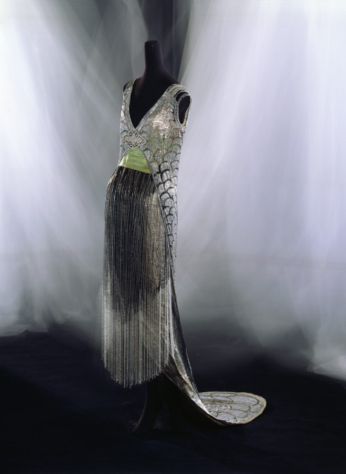 "fripperiesandfobs:  Beer evening dress ca. 1919 From the Kyoto Costume Institute  ""Finally! A dress both of you can love!"""