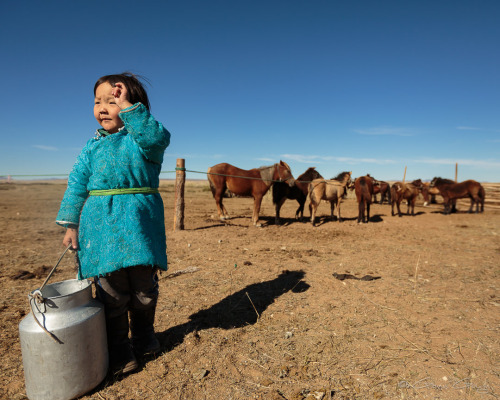 Living with a family of nomads in Mongolia. Delgr Tuya is six...