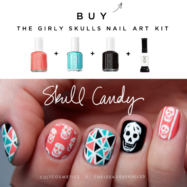 "New ""Skull Candy"" nail art kit with Cult Cosmetics! Includes 3 full sized essie polishes and a striper/nail art pen to get the look. See it here: https://www.cultcosmetics.com/products/skull-candy-by-chelsea-king"
