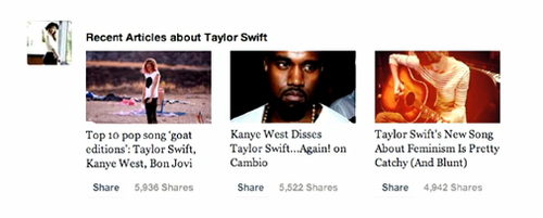 Facebook News Feed curated story about Taylor Swift Example
