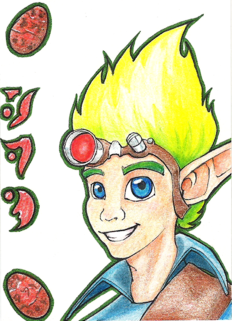This took way longer than I had anticipated. Little ATC of widdle Jak with his gravity-defying hair. (Aaah, colored pencils. Now I remember why I don't use you much)