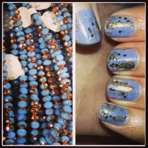 Inspiration/polish. #beads #beadshow #blue #gold #copper #notd #glitter