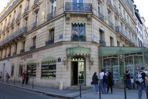 Ladurée (Paris, France) Aside from the store we visited in Versailles, we also sat down for dessert at the Ladurée along Champs-Élysées.  Because I wanted to see what the French version tasted like, I ordered the Ispahan (which I first tried at The Cake Club here in Manila). It had a thin crisp exterior, chewy rose-flavored interior, cream with rose petals raspberries and lychees. The best way I can describe the taste is that its slightly sweet and fragrant - like perfume, but in an edible way. Of course, G ordered something chocolate - I can't recall what it was called but it definitely looked like a puff pastry stuffed with chocolate cream, dipped in chocolate and topped with whipped cream and caramel.