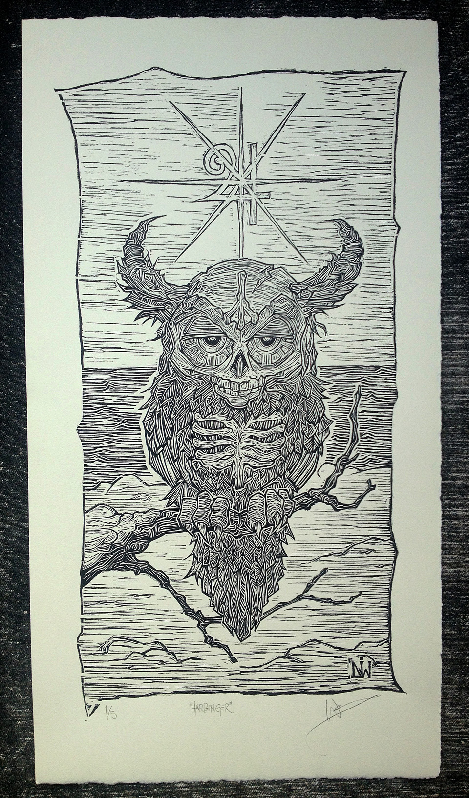 """Harbinger"" (2013), Woodcut Print by Darcy J. Watt Limited edition of 5."