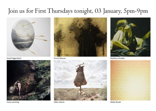 EVENT: BRUNDYN + GONSALVES FIRST THURSDAY'S at 71 Loop Street Cape Town Thursday 03 January, 17h00 - 21h00 BRUNDYN + GONSALVES will be open this evening from 17h00 to 21h00 as part of the First Thursdays in Cape Town initiative.  First Thursdays will see participating art galleries and shops in Cape Town's CBD open their doors until 21h00 on the first Thursday of every month. Click here for more information. PARTICIPATING GALLERIES: Youngblood, G2 Art, Erdmann Contemporary, and Dear Me who will be hosting a Future Cape Town exhibition.  71 Loop Street, Cape Town, 8001t +27(0) 21 424 5150www.brundyngonsalves.comSUMMER OPENING HOURS Mon - Fri 9am - 5pm / Sat 10am - 2pm