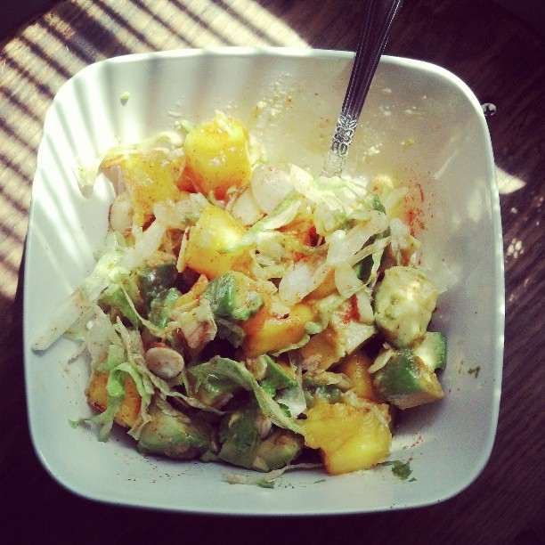 Mango avocado salad with cayenne lime dressing.