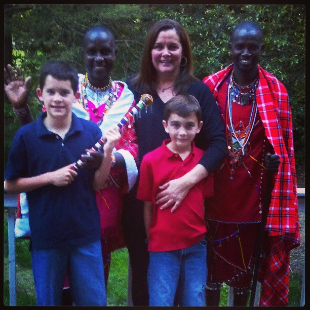 Maasai Chief Joseph Ole Tipanko, John, and Clan McKeon.