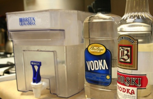 rockstar-on-a-budget:  Got cheap vodka? Run it through a Brita filter for a better taste and the same alcohol content!