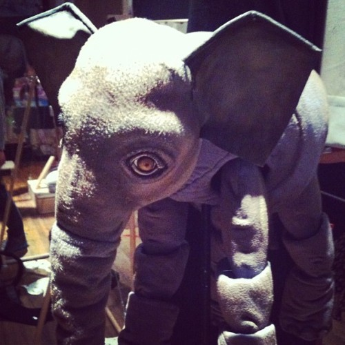 One of the incredible elephant puppets from 'Elephant Song' in Calgary (at Green Fools Theatre Society)