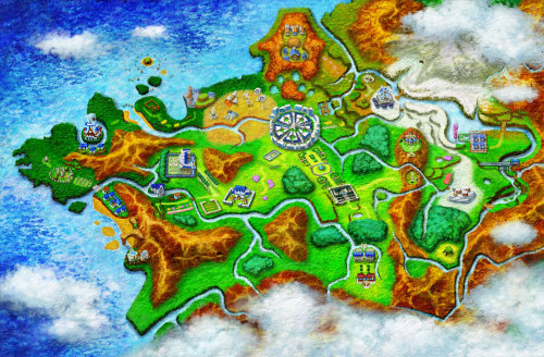 Pokemon X and Y. Map of the Kalos Region.