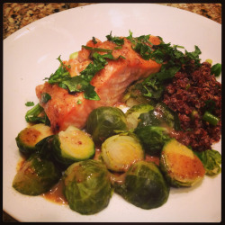 Honey-mustard glazed salmon with red quinoa and Brussels sprouts. For the salmon glaze: 2 tbsp. honey 2tbsp. lemon juice 2 tbsp Dijon mustard 1 tbsp. grated lemon zest The glaze/sauce is dual-purpose. Use the remainder of the same exact sauce to drizzle on the veggies. ~L.C.